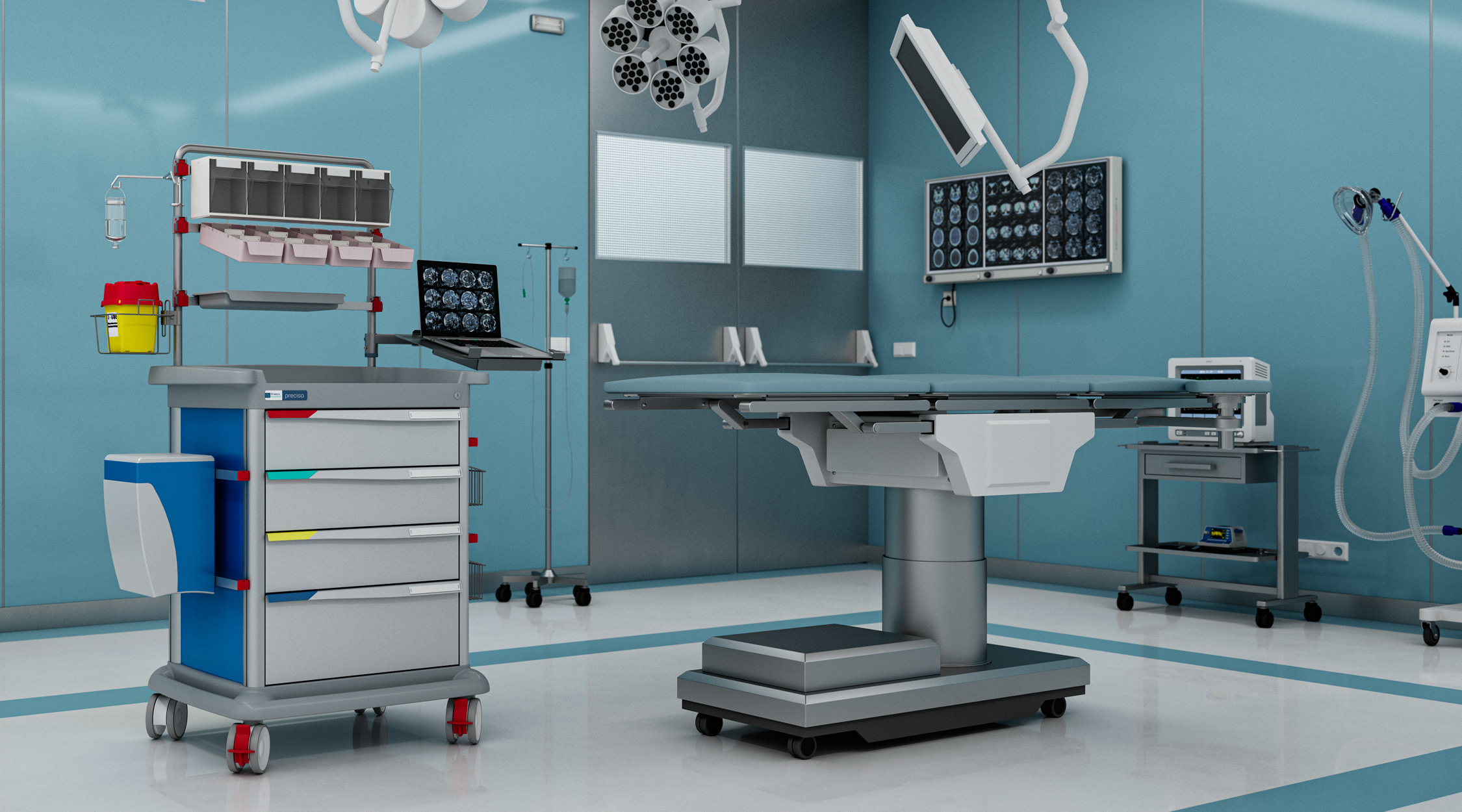 Preciso anaesthesia trolley in an operating room