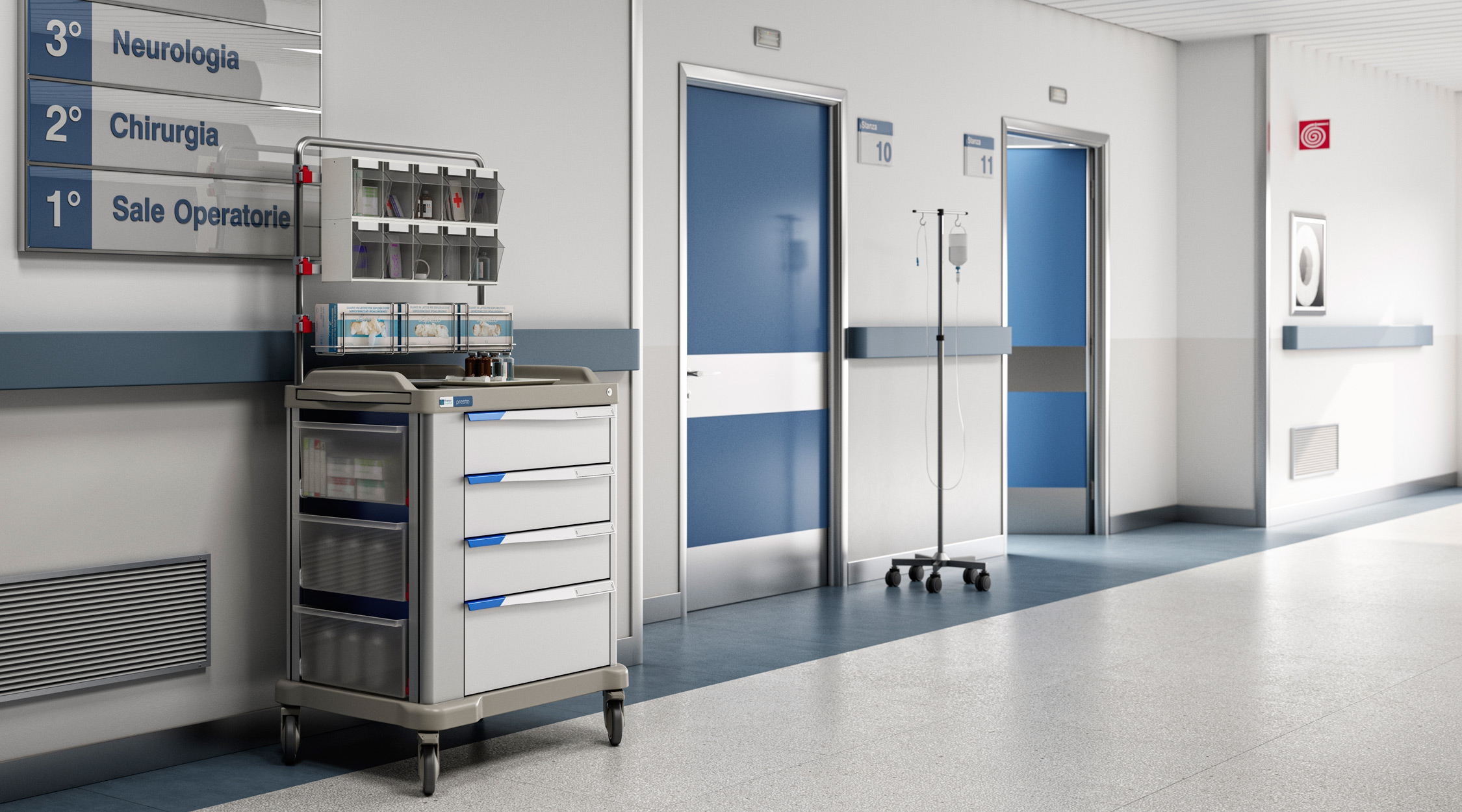 Presto large therapy trolley in a hospital ward