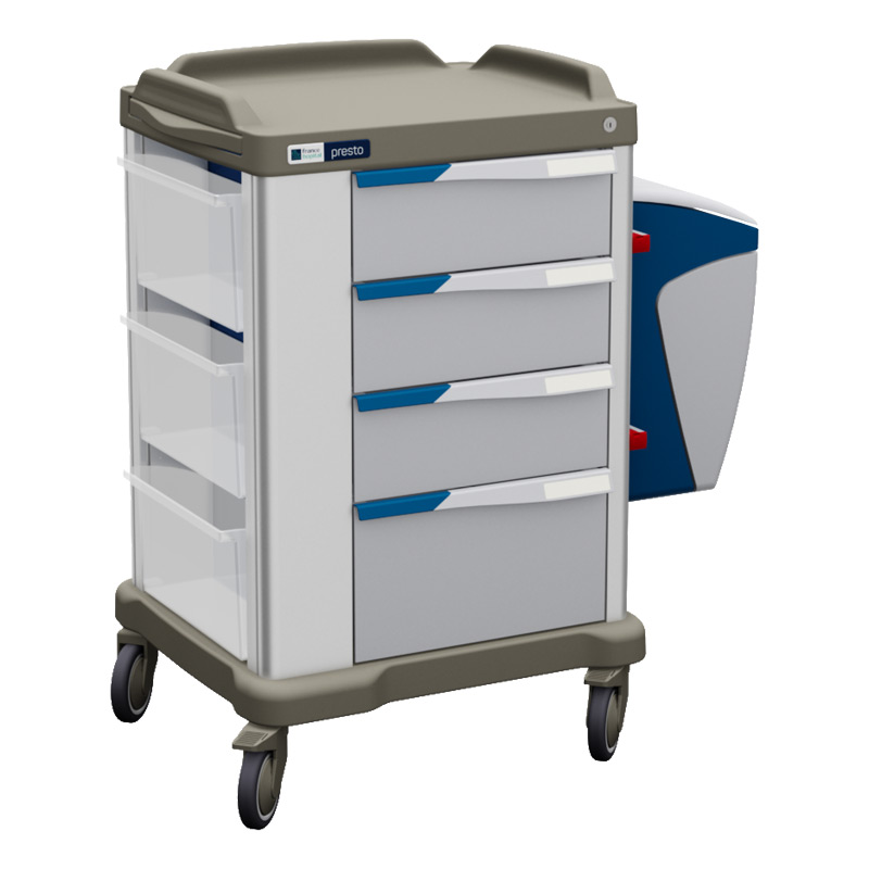 Presto medium ward trolley with accessories and blue coloured panels