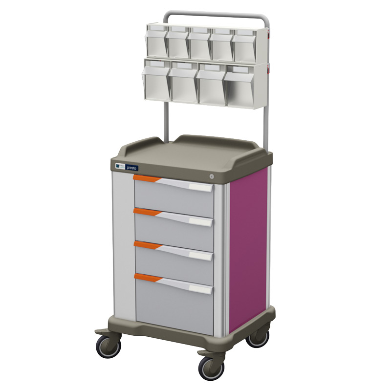 Presto medium therapy trolley with overbridge and pink coloured panels