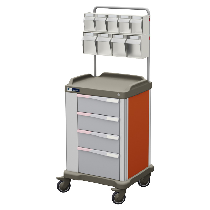 Presto medium therapy trolley with overbridge and orange coloured panels