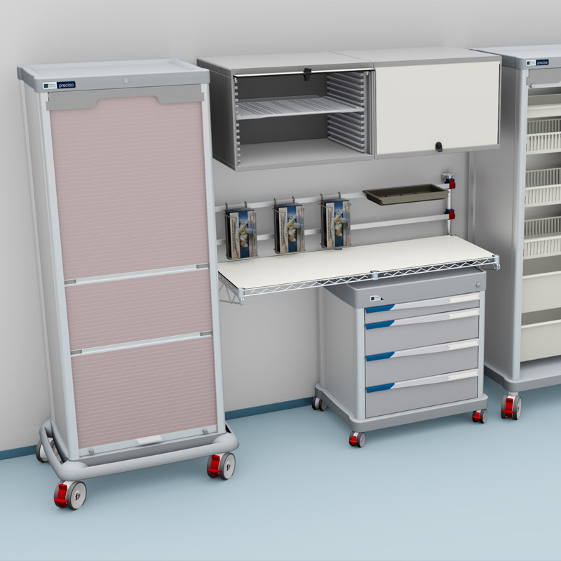 PRECISO TRS ligisitcs column, PRECISO DPT mobile drawers and work surface