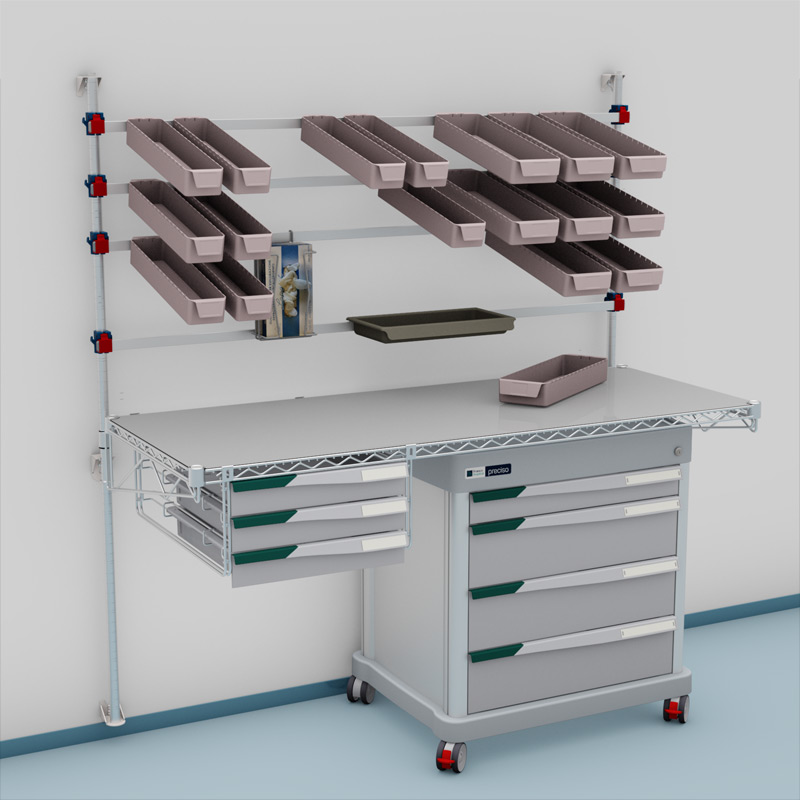 wall mount picking station with additional drawers and a PRECISO DPT under-table drawer unit