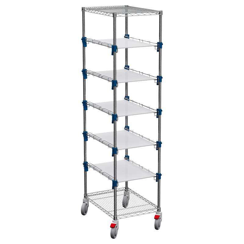 MOSYS-ISO an ISO 600x400 shelving on wheels, with VSC-RIP shelves
