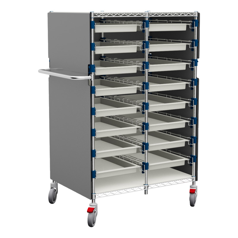 MOSYS-ISO an ISO 600x400 shelving on wheels with Alupanel enclosure