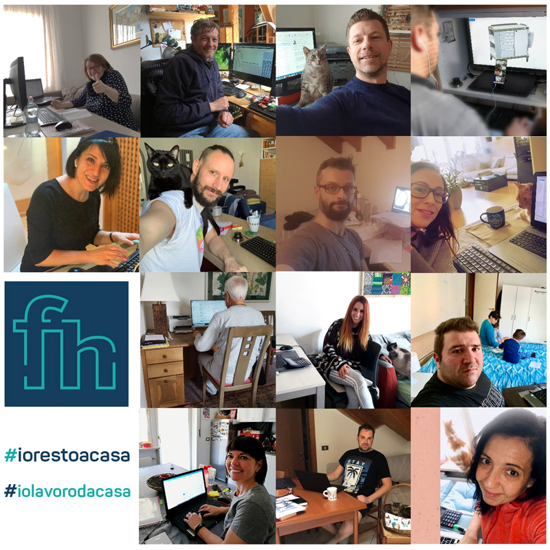 Combo puzzle: images of FH employees working from home during Covid-19 virus outbreak