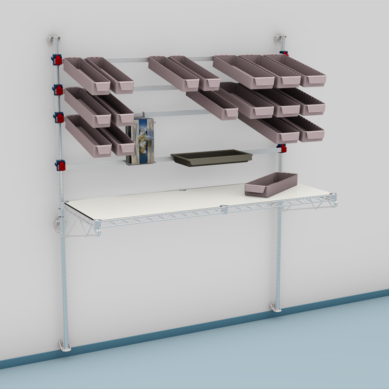 picking station with accessories in a wall mount version