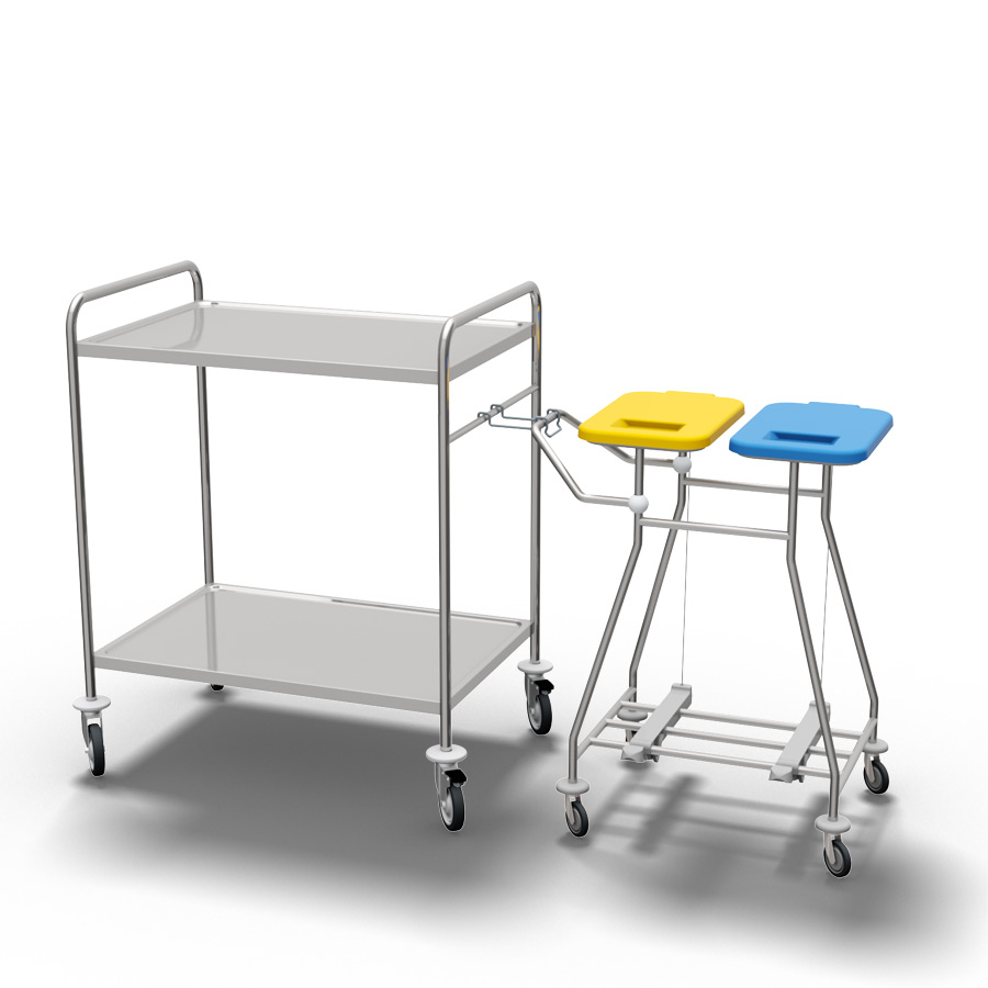 stainless steel service trolley CS962 coupled to a CB20P bag holder trolley for dirty linen at 900px