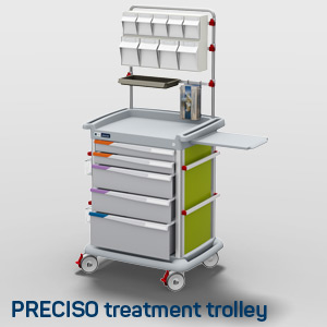 A Preciso treatment trolley with overbridge and accessories