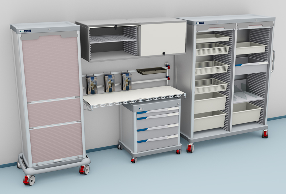 Mobile furniture: a fixed table with one DPT and two PRECISO TRS logistic columns