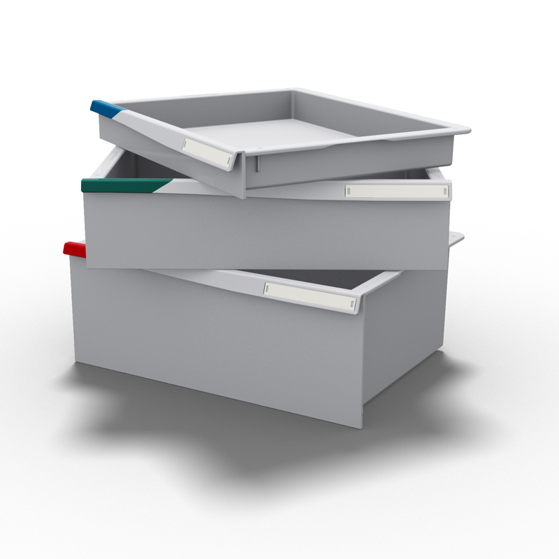 The FH-Drawer in its 3 main heights: 1 module, 2 modules and 3 modules