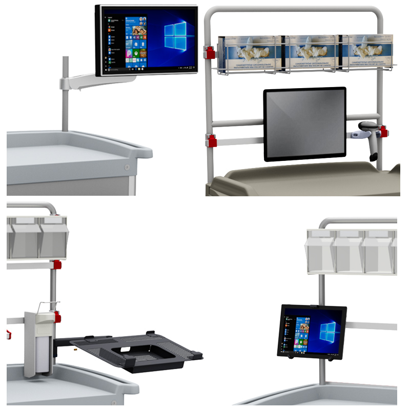 eWork Cart trolleys: several supports and holder are available for screens and tablet